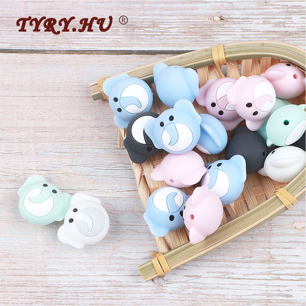 TYRY.HU 3pc Cartoon Elephant Silicone Beads Baby Food Grade Silicone Teether Chew Rodents DIY Baby Teething Necklace BPA Free