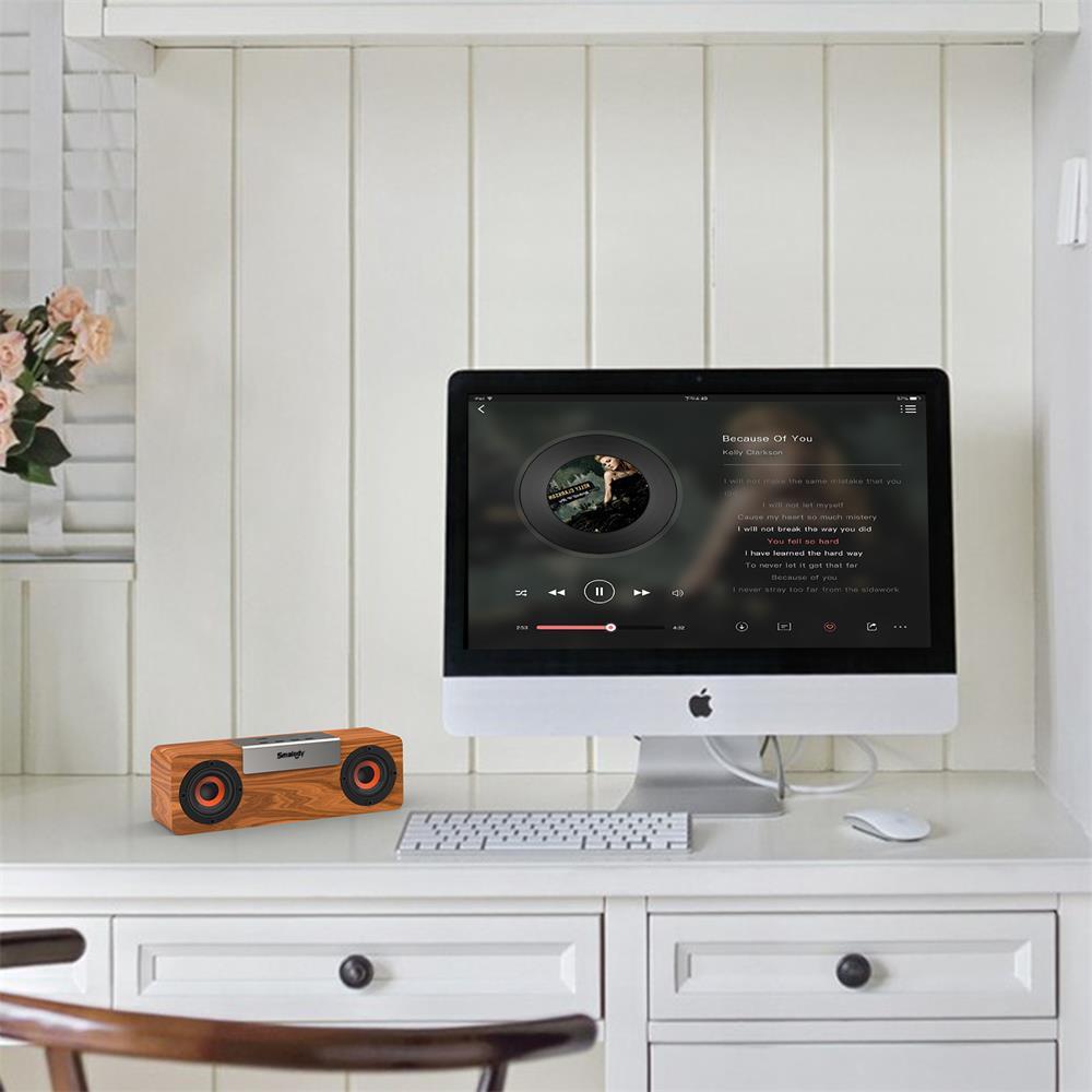 Image 5 - Smalody wireless bluetooth speaker Wooden TV Soundbar Stereo bass loudspeaker desktop PC computer boombox USB FM Radio sound box-in Bookshelf Speakers from Consumer Electronics