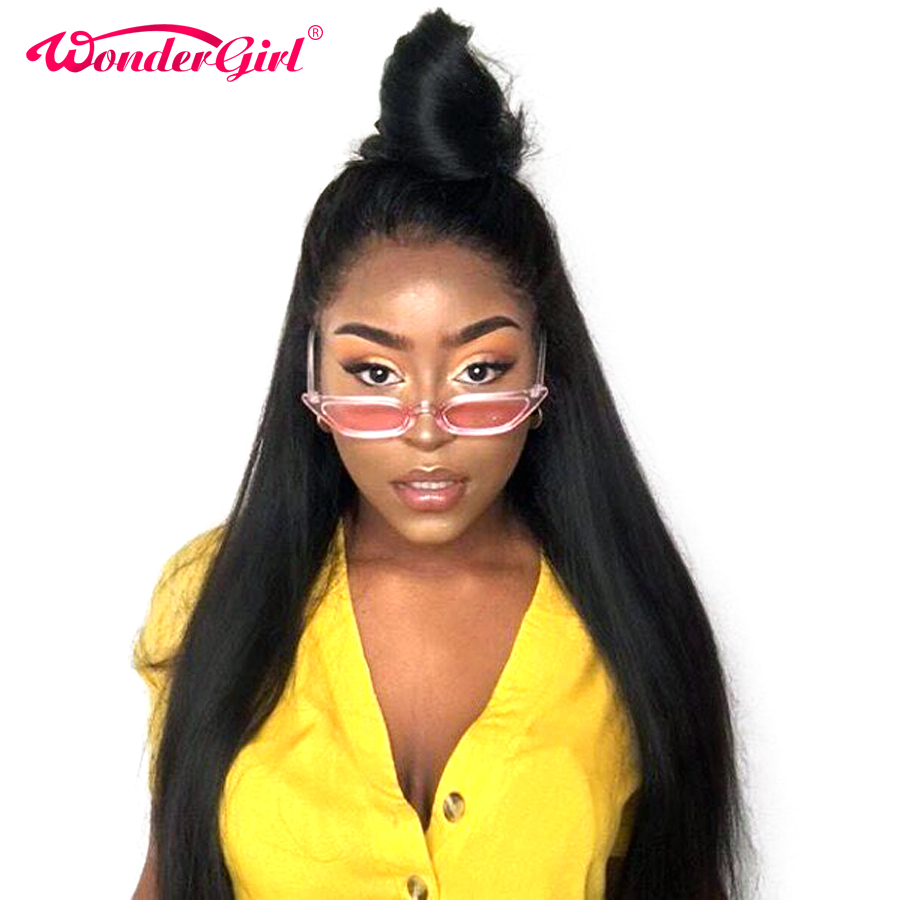 Wonder girl 250 Density Remy 360 Lace Frontal Wig Pre Plucked With Baby Hair Brazilian Straight