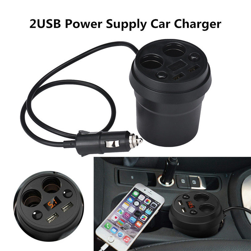 2017 new 2USB Power Supply Car Charger Dual Cigarette Lighter Adapter high quality car-styling