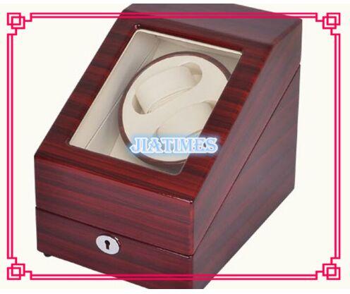 High Quality 2+3 Striped Wine Red + White Watch Winder Wood Case Box Carbon Fiber PU high quality 6 7 black black watch winder wood case box carbon fiber pu