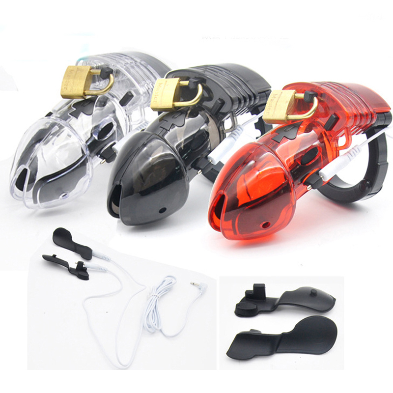 Buy Electro shock chastity cage penis sleeve bird lock cbt male chastity device adjustable ring cock cages sex toys men cb6000s
