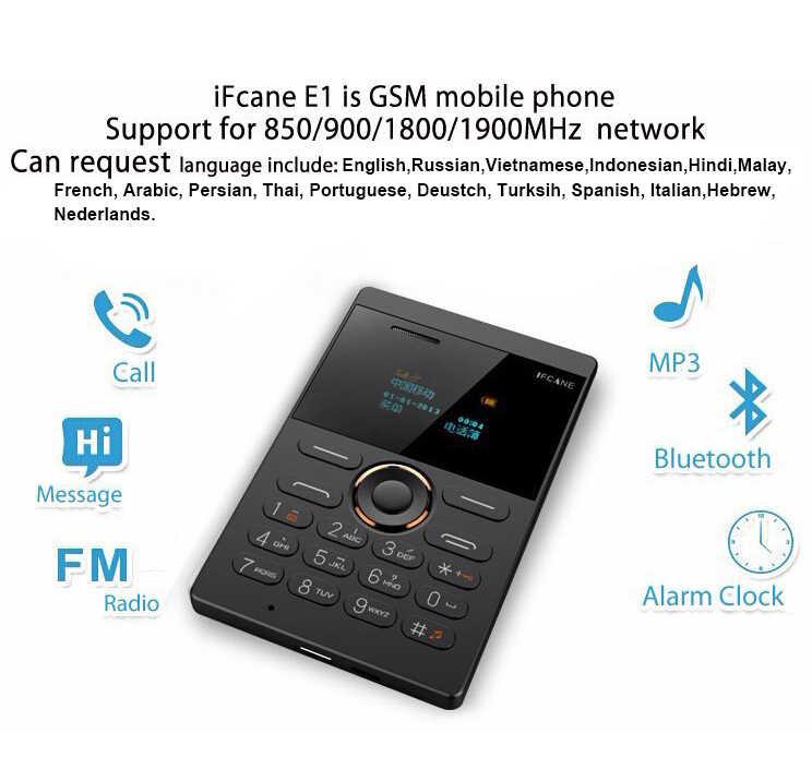 Mosthink IFcane E1 AIEK X8 GSM 2G teléfono móvil Mini teléfono móvil ultra delgado tarjeta de crédito botón único SIM FM Radio Mp3 mini teléfonos