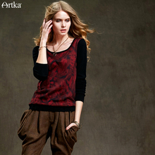 Artka Women's 2015 Autumn New Vintage Q-Neck Sweater Solid Color Elegant Romantic Wool Pullover YB15850Q