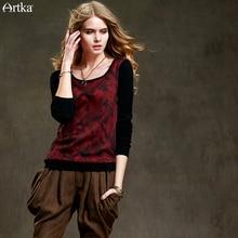 Artka Women's 2015 Autumn New Vintage Q-Neck Sweater Solid Color Elegant Romantic Wool Pullover YB15850Q