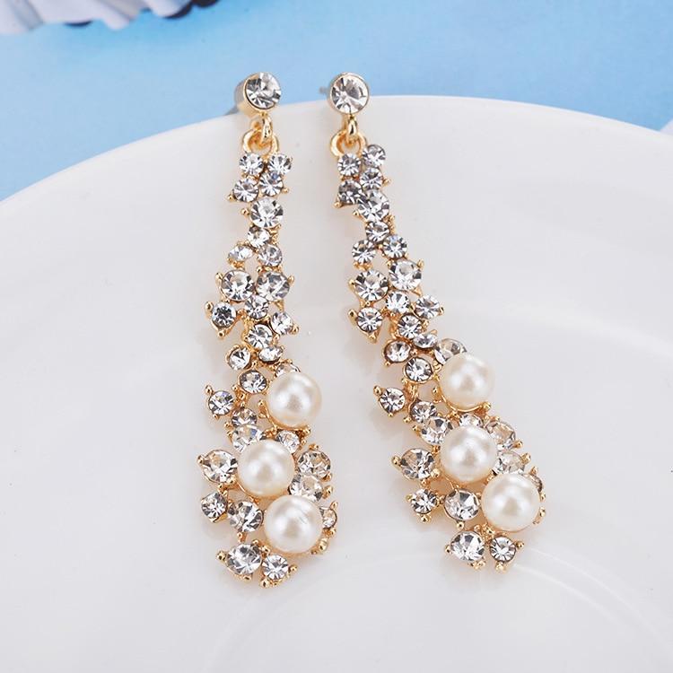 Elegant Chic Women Lady\'s Pearl Rhinestone Crystal Earring Long ...