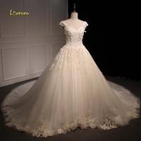 Loverxu Vestido De Noiva Sexy Backless Vintage Wedding Dresses 2018 Luxury V Neck Cap Sleeve Appliques Beaded Tulle Bridal Gown
