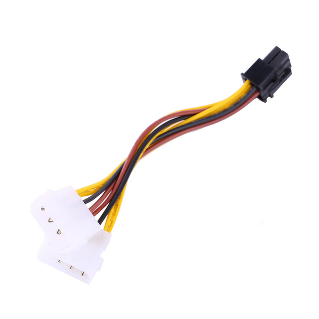 2 IDE Dual 4pin IDE Male to 6 Pin Female PCI-E Y IDE Power Cable Adapter Connector for video cards
