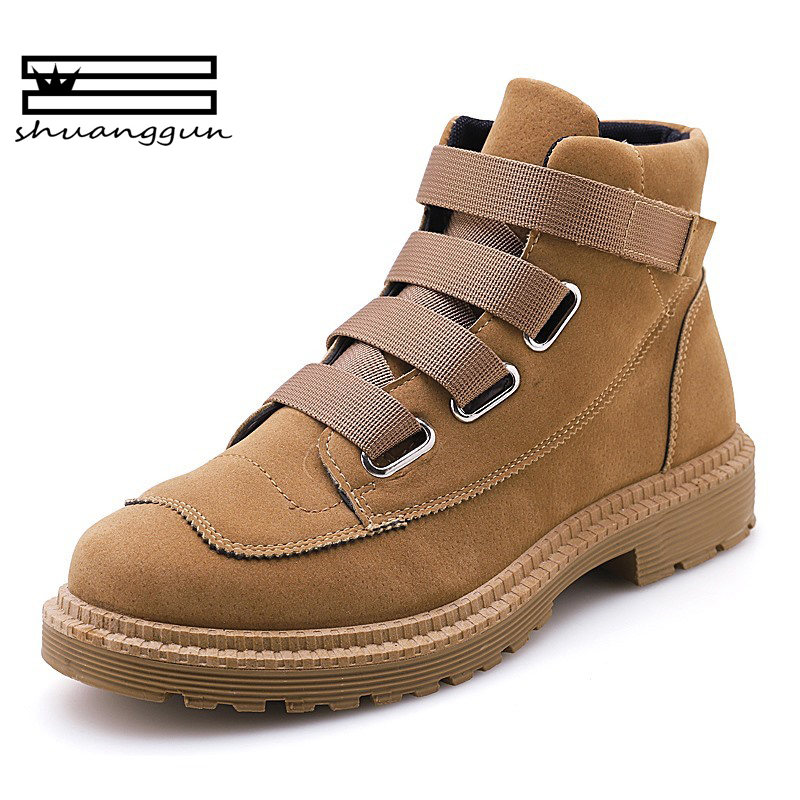 SHUANGGUN 2018 New Style fashion magic sticker man shoes keep warm Non slip  durable Tooling boots High Top Shoes Outdoor 39~44 -in Work   Safety Boots  from ... cfd492f008fc