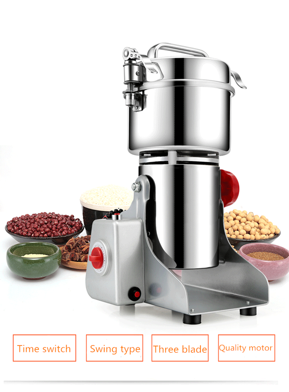Electric Grain Grinder Mill Powder Machine High Speed Commercial Swing Type Grinder Machine for Herb Pulverizer Grinding Various 1000g swing food grinder milling machine small superfine powder machine for coffee soybean herb sauce grain crops