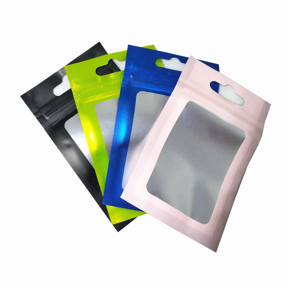 100Pcs Zip Lock Resealable Mylar Bags Clear Window Front Package Foil Food Bag Hang Hole Plastic Zipper Pouches for Electronics