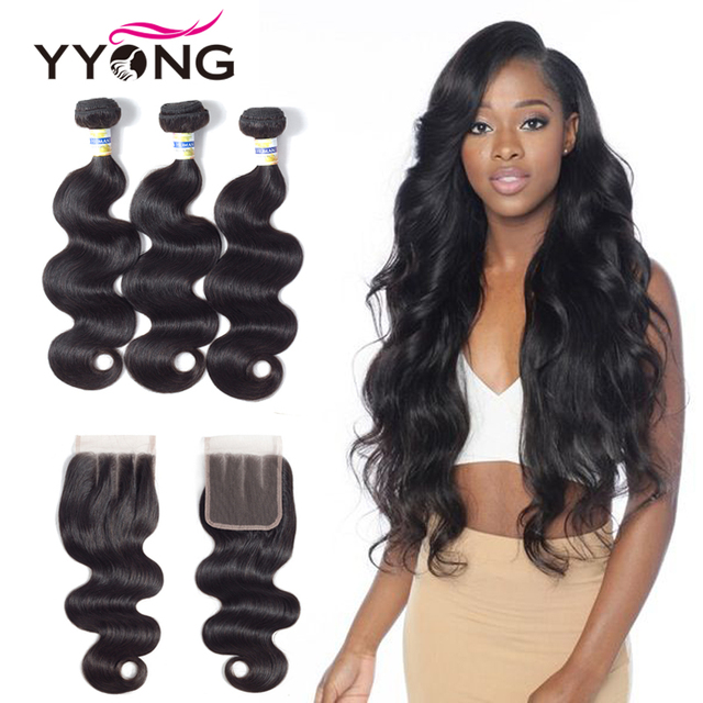 Yyong Hair 3 Bundles Brazilian Body Wave Bundles With Closure 4*4 Lace Closure 4Pcs/Lot Human Hair Weave Bundles With Closure
