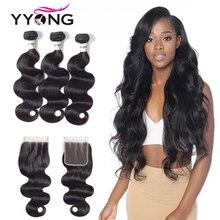 Yyong Hair 3 Bundles Brazilian Body Wave Bundles With Closur