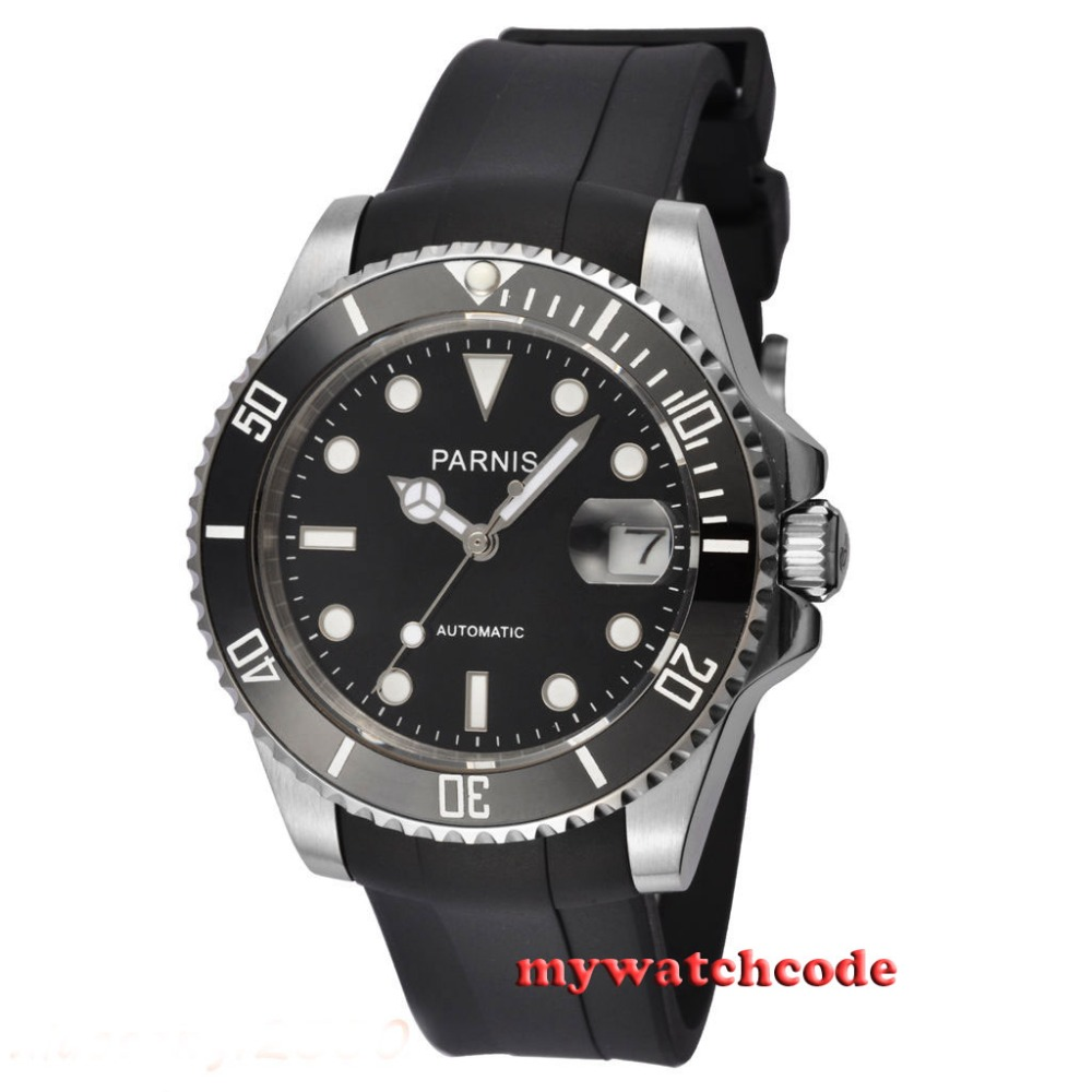 40mm Parnis black dial ceramic beel 21 jewel Miyota automatic mens watch P463 цена и фото