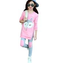 Одежда для девочек Новая футболка с длинными рукавами и вышивкой с героями мультфильмов, куртка, леггинсы комплект из двух предметов, хлопковая качественная одежда для детей возрастом от 3 до 12 лет