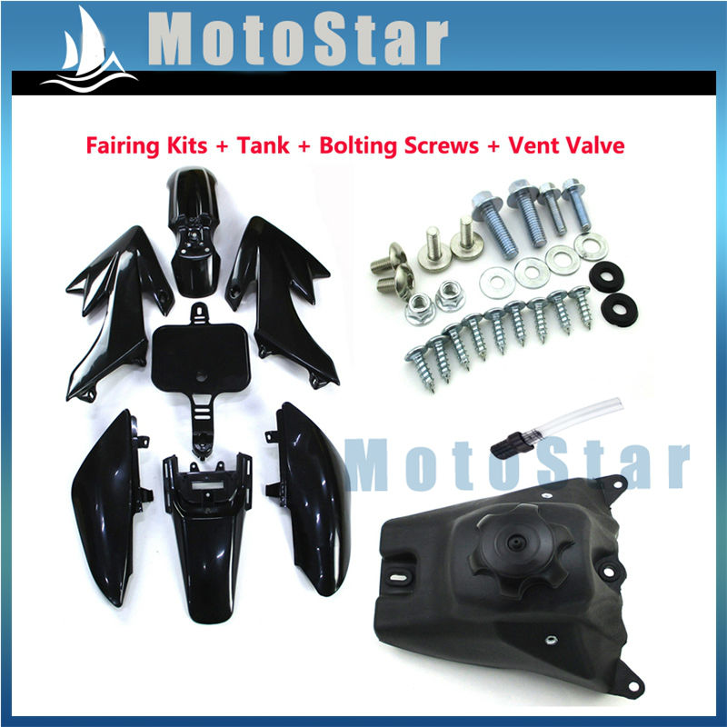 Black Plastic Fairing Fender Kits Screws Gas Fuel Tank Vent Valve For 50cc 160cc Honda XR50