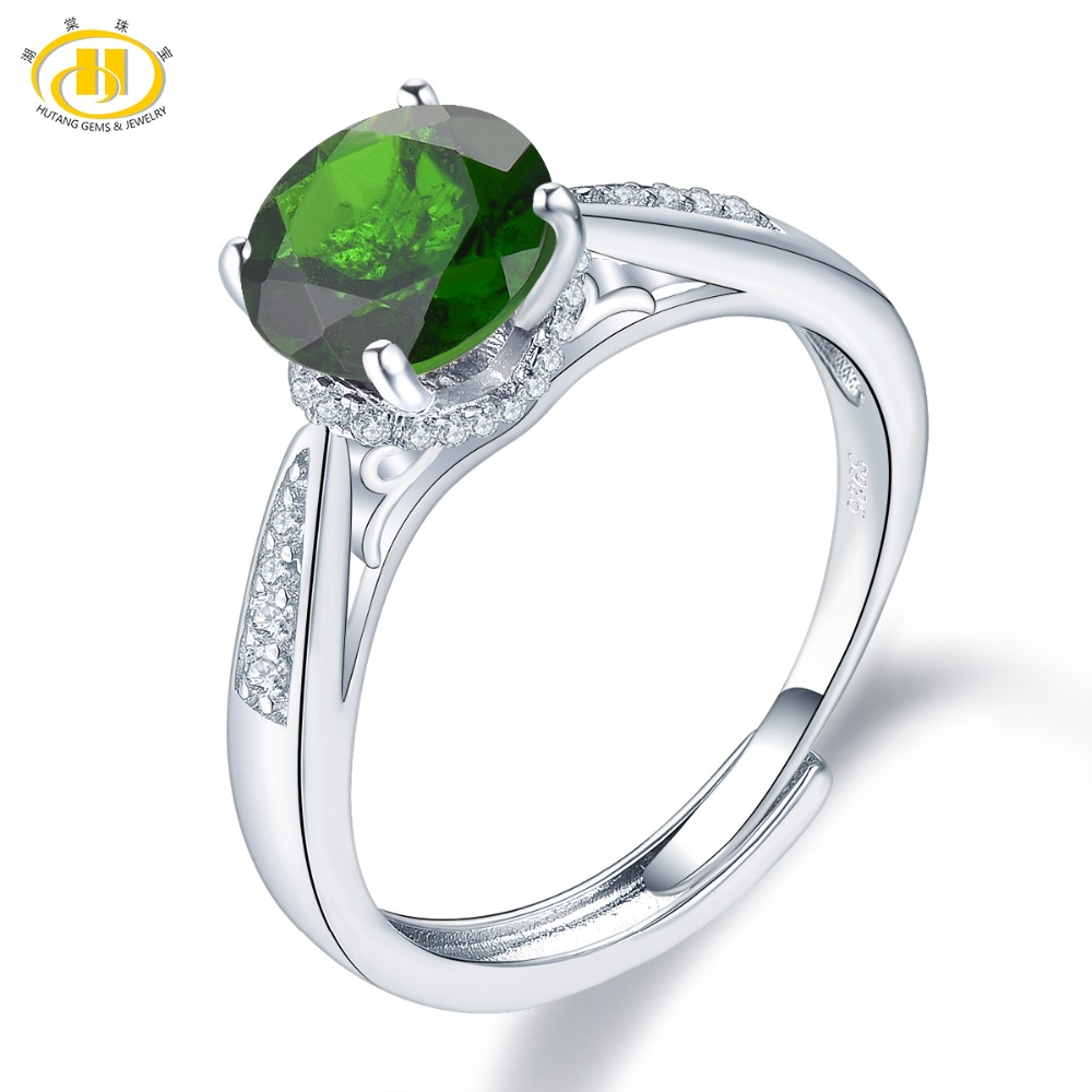 Hutang 8mm Chrom Diopside Rings 925 Sterling Silver Natural Gemstone Adjustable Ring Fine Elegant Jewelry for Womens Gift NewHutang 8mm Chrom Diopside Rings 925 Sterling Silver Natural Gemstone Adjustable Ring Fine Elegant Jewelry for Womens Gift New