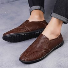 Classic Plus Size Men Shoes Hollow Mesh Loafers Leather Breathable Men Casual Shoes Soft Flats Lazy Shoes Summer Driving Shoes цена