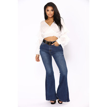 New spring hot fashion straight leg pants casual pocket stitching high waist women jeans sexy wide leg loose women's flare jeans new fashion hot casual womens loose denim wide leg pants high waist straight jeans trousers free shipping