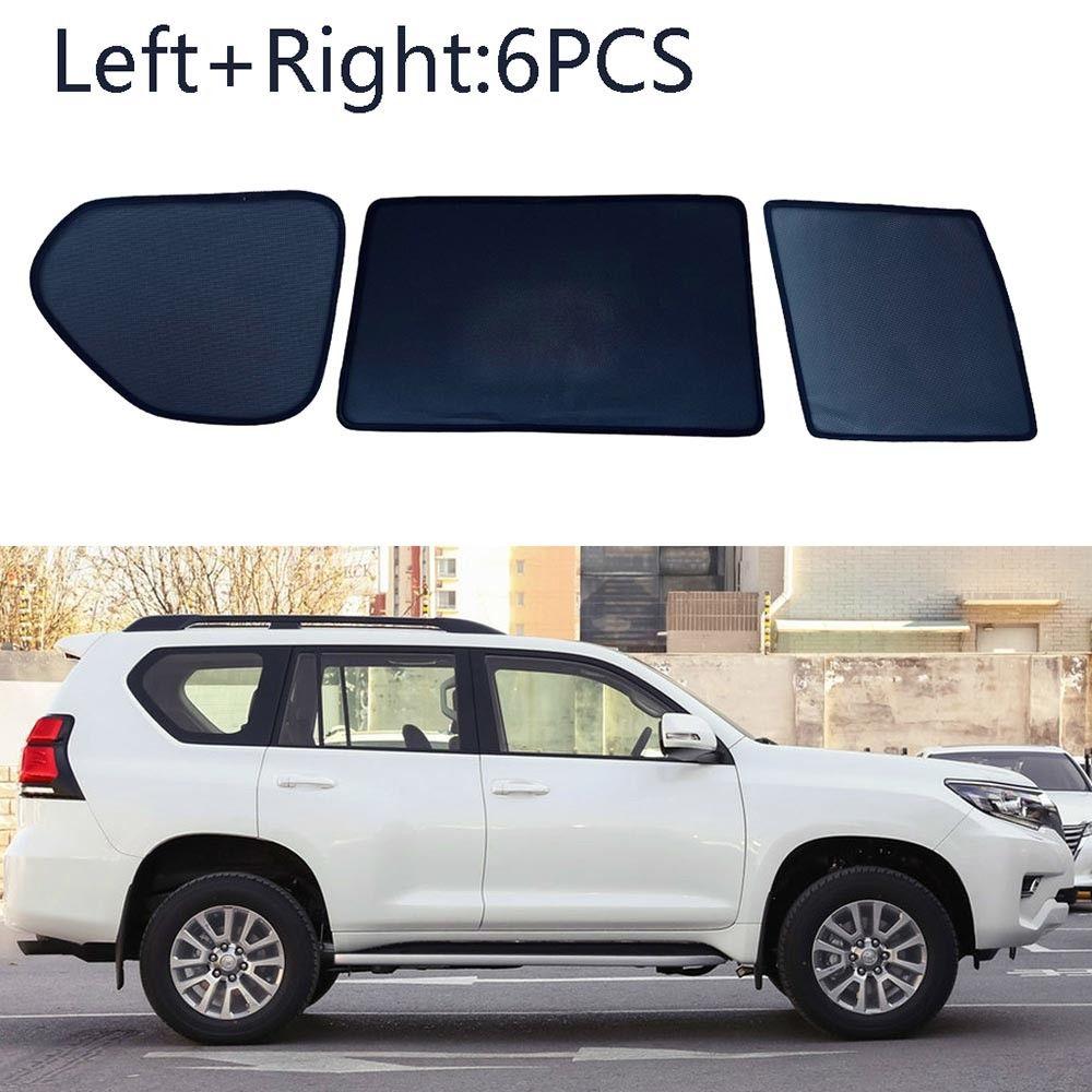 6pcs Side Windows Magnetic Sun Shade UV Ray Blocking Mesh Fit For Toyota Prado 2010 2018