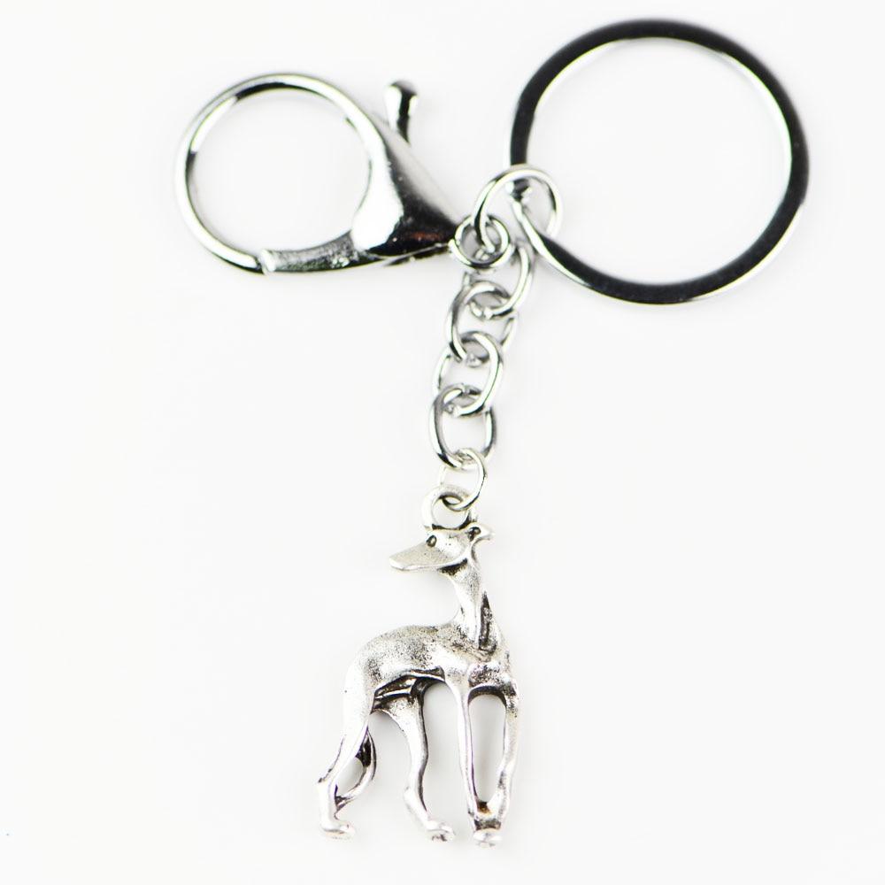 Whippet Silver Keyring