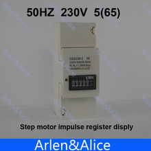 5(65)A 230V 50HZ Single phase Din rail KWH Watt hour din-rail energy meter step motor impulse register dispaly
