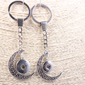 Antique Silver Alloy Crescent Shape Snap Button Keychains Fit 12/18mm Snap Button Charms Jewelry 10pcs