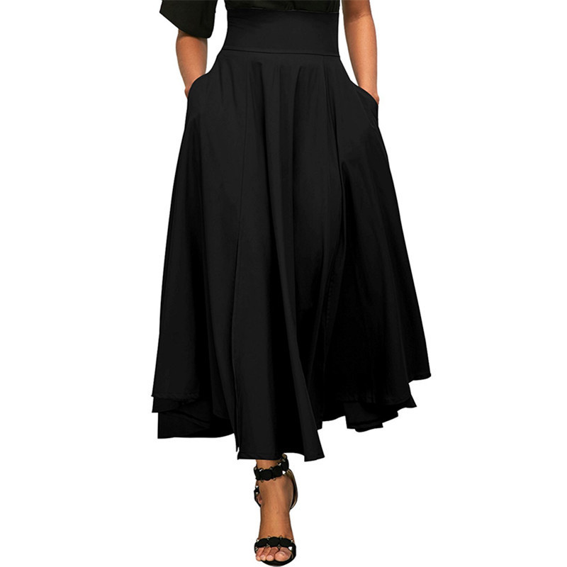 Women Retro High Waist Pleated Skirt Autumn Winter Belted Maxi Loose Skirt With Pocket
