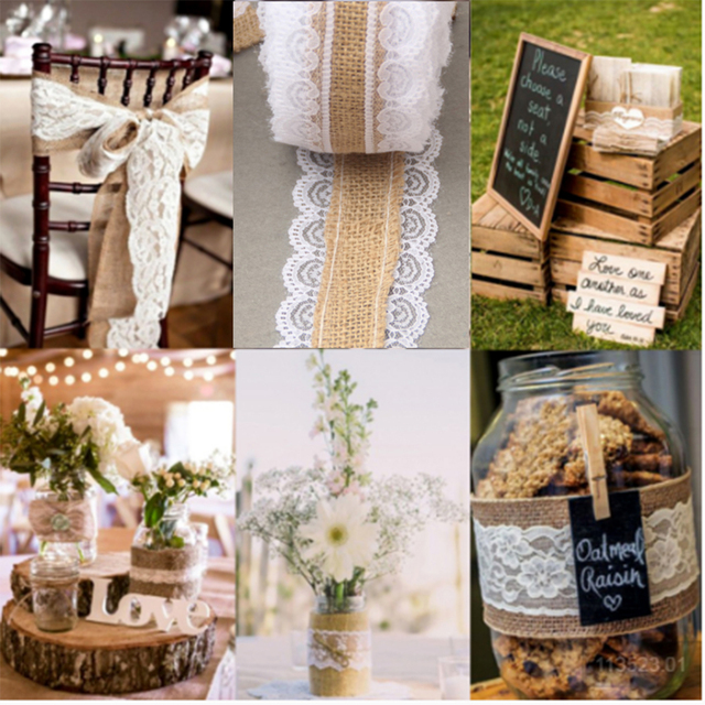 6x500cm Natural Jute Burlap Hessian Lace Ribbon Roll White Vintage Rustic Wedding Decoration Mariage