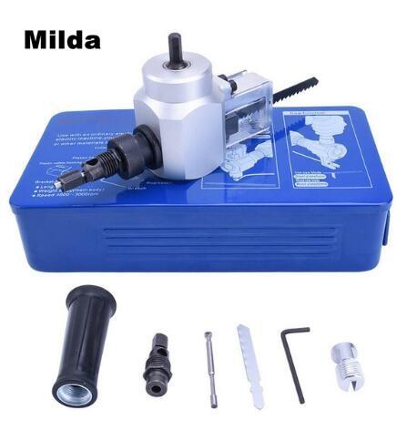 Milda Double Head Metal Cutting Sheet Nibbler Saw Cutter Tool Drill Attachment Cutting Tools Nibbler Metal Hand Tools No tin box