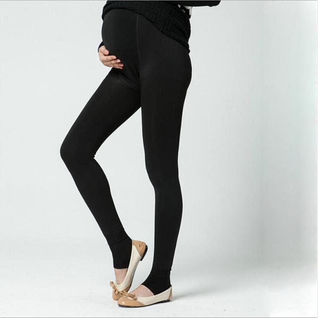 Espesar Invierno Leggings Embarazadas Pius de Terciopelo Leggings Pantalones Calientes Cómodos Pantalones de Maternidad Ajustable