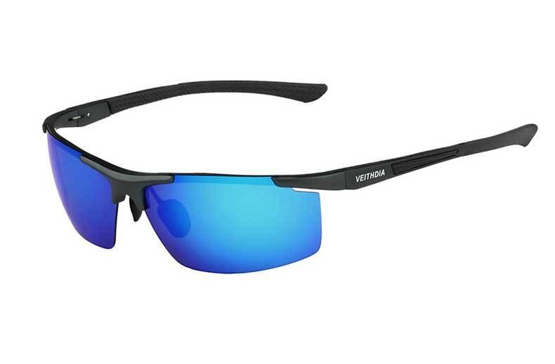 Поляризованные солнцезащитные очки из алюминиевого сплава. Мужские линзы. Зеркальные солнцезащитные очки для рыбалки, спорта и активного отдыха на свежем воздухе. Очки 6588 - Цвет линз: blue