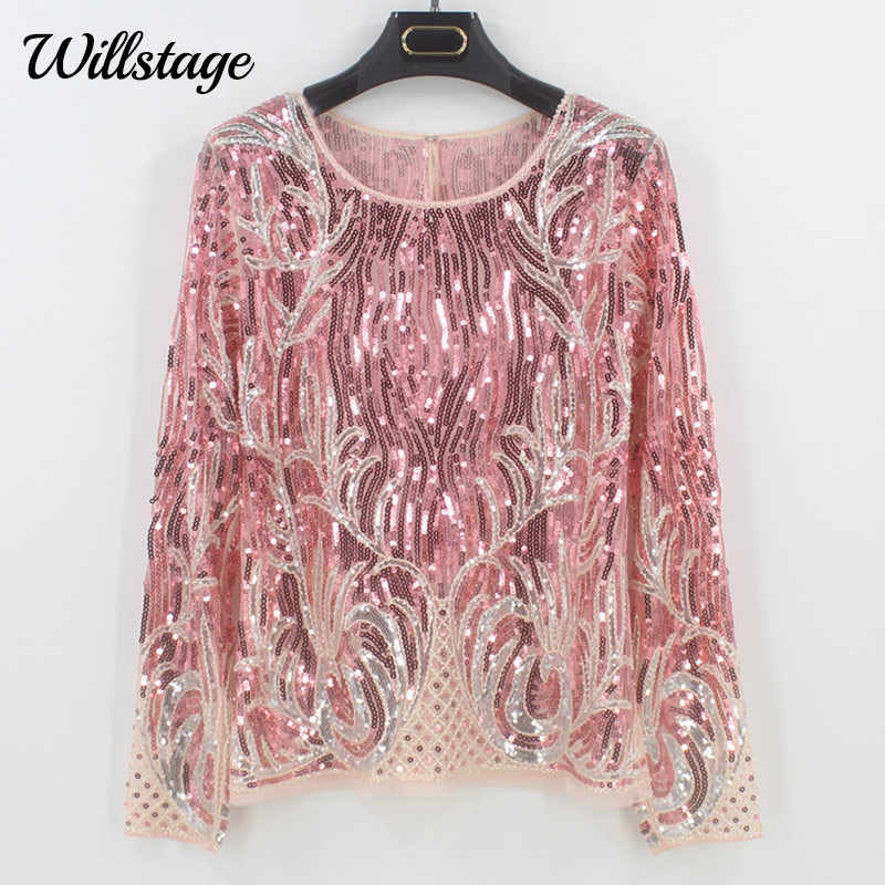 Willstage Sequins Blouse Women Pink Embroidery Hollow out Sexy Party Shits Beading  Tops Long Sleeve Blouses 79c5ed0fd8ea