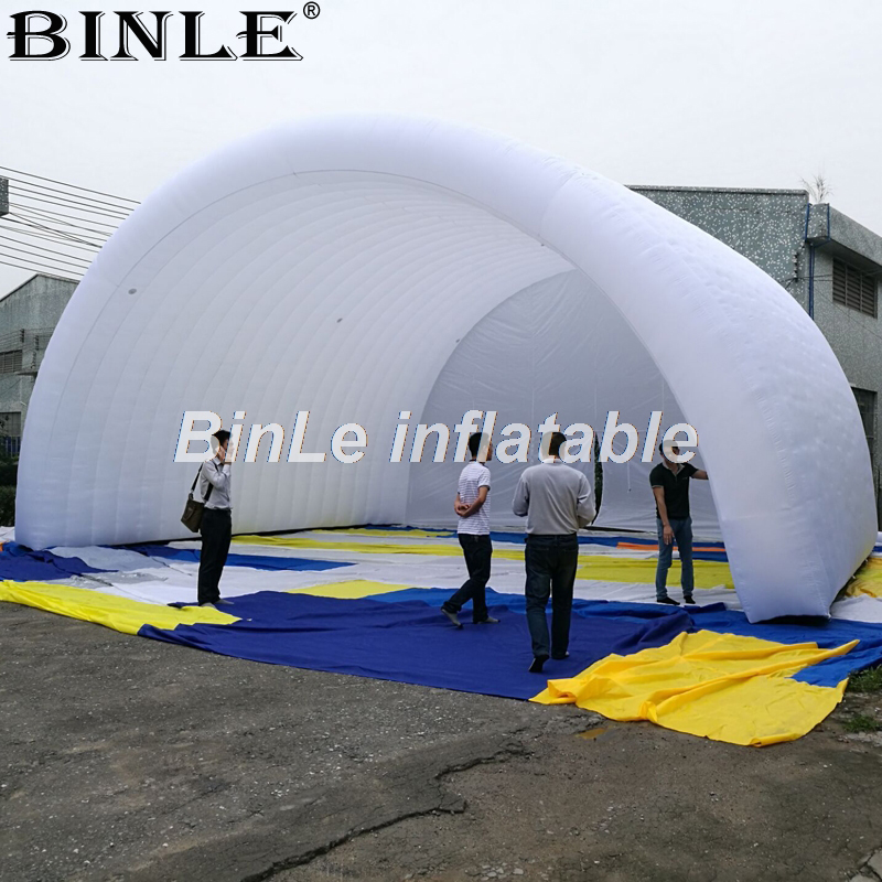 все цены на 10x8x6m white waterproof oxford giant inflatable stage cover arch style stage tent open air roof canopy for concert or events