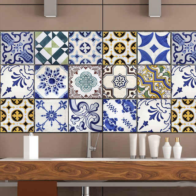 High Quality 3D Arabic Style Tile Stickers Kitchen Bathroom Wall ...