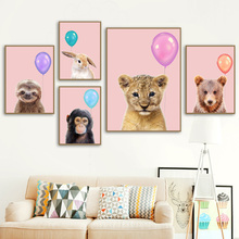 Rabbit Bear Lion Sloth Pink Balloon Wall Art Canvas Painting Nordic Posters And Prints Wall Pictures Kids Room Nursery Decor