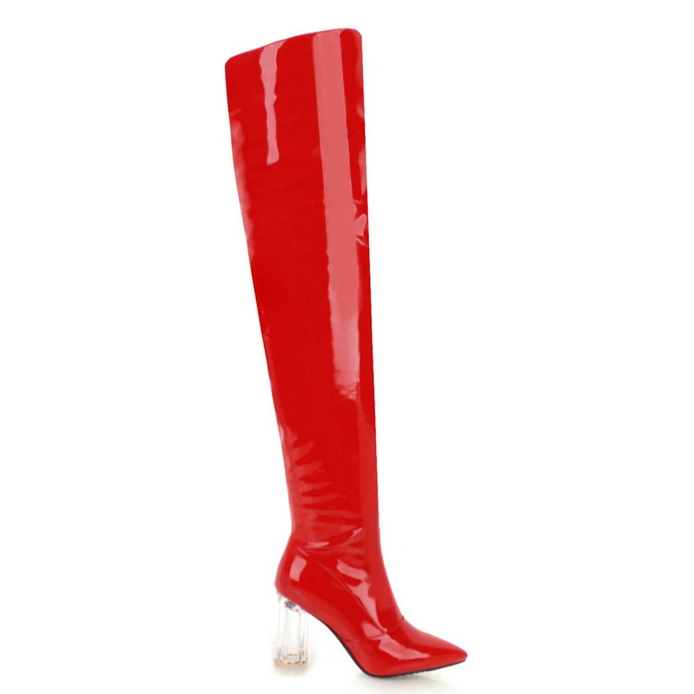 Lasyarrow Women s Thigh High Boots High Heels Sexy Over the Knee Boots  Silver Women Boots Red Black Patent Leather Long Boots 60bcab422508