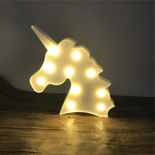 Novelty Unicorn Head Shape Animal Lamp Warm White Shine 3d