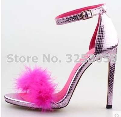 025296962a2802 ALMUDENA Eye-sighted Pink Snakeskin Stiletto Heels Fur Sandals Romantic  Covered Heel Wedding Shoes Young Girl s Party Shoes