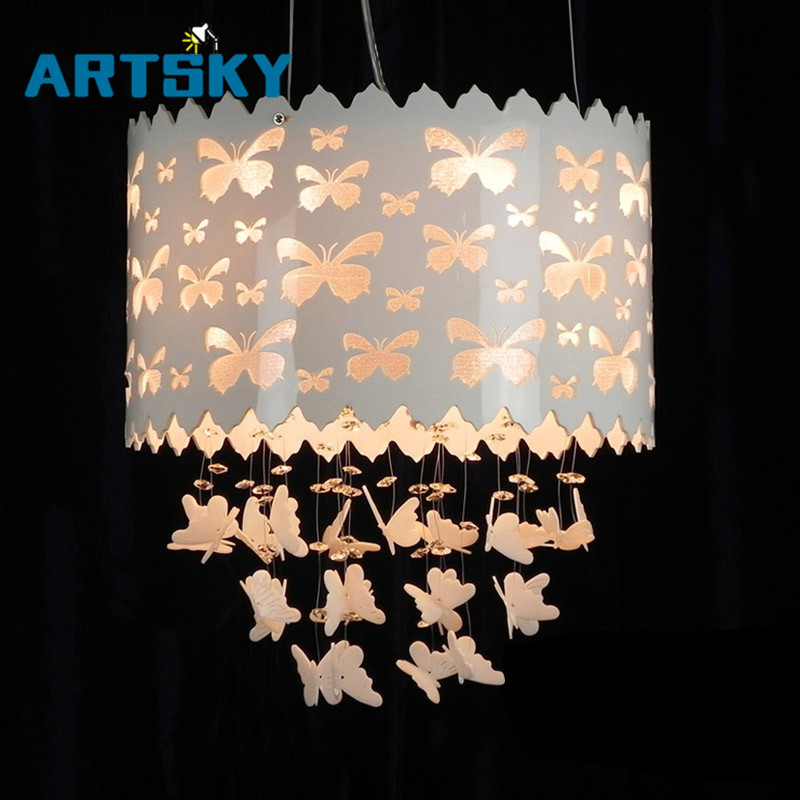Modern LED Black Chandelier Light Fixture White Butterfly Design Acrylic Hanging Lamp Suspension Light For Pendant