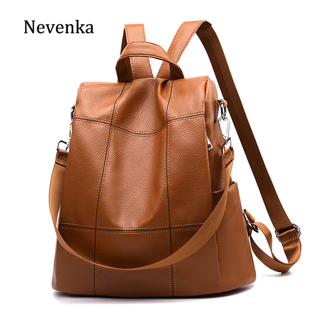 Nevenka Women Soft Leather Backpack Female Vintage Backpacks For Ager S School Bags Las Brown Daypack