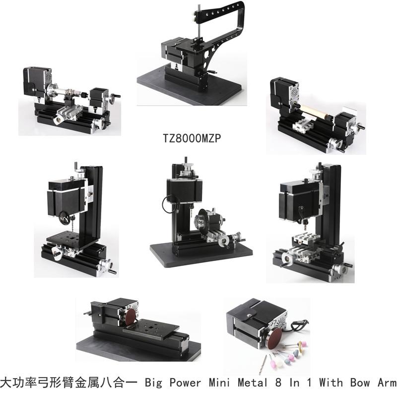 Big Power Metal 8 in 1 Mini lathe with Bow arm TZ8000MZP 60W,12000rpm Bow-arm Metal Lathe kit big big самосвал mini power worker mini kipper