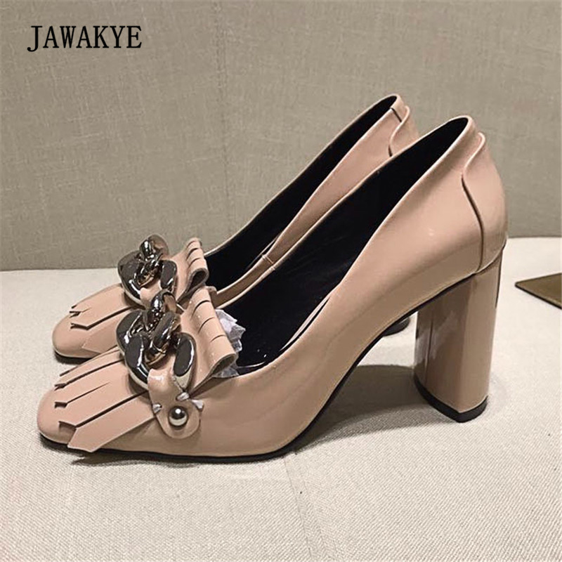 New Arrival Chain Fringe Tassel Pumps Woman Round Toe 8.5CM Chunky High Heel Shoes Woman Fashion Party Shoes Wedding Zapatos Mu new arrival pvc transparent shoes woman open toe clear strange heel pumps woman fashion party shoes
