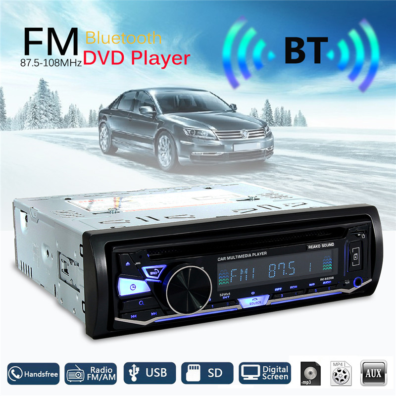 KROAK Car Radio Stereo Player Bluetooth Phone DVD MP3 Player BT & DISC &FM/AM Radio & RDS Receiver /1 Din/Remote dab radio stereo rds receiver tf card mp3 player handheld portable radio recorder fm pps003 y4110a