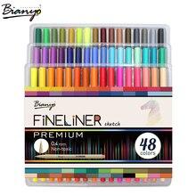 Bianyo 48 Цвета Fineliner Эскиз Маркер иглы Рисунок Pen Set для школьника Дизайн канцелярские Книги по искусству маркер поставки