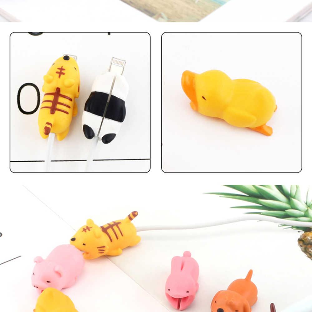 การ์ตูนสัตว์ Protector สาย Saver สำหรับ iPhone Xs Max สุนัขน่ารัก Shark เป็ดเต่ากัดสายข้อมูล Protector สำหรับ Huawei