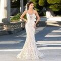 Vestido De Noiva Charming Zuhair Murad Wedding Dresses Mermaid Lace Applique Bride Dress Long Train for Weddings Sexy Backless