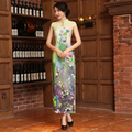 Top Quality Women Cheongsam Retro Printing Chinese Style Qipao Slit Long Cheongsam China Dress Silk Traditional Evening Dress