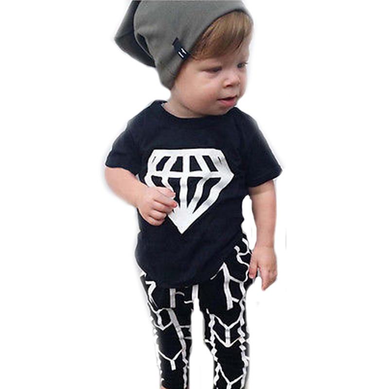 Summer Baby Boy Leisure Set 2017 Summer Diamond Pattern T shirt+Harlan Pants 2pcs Kids Baby Clothes Toddler Girl Clothing Sets