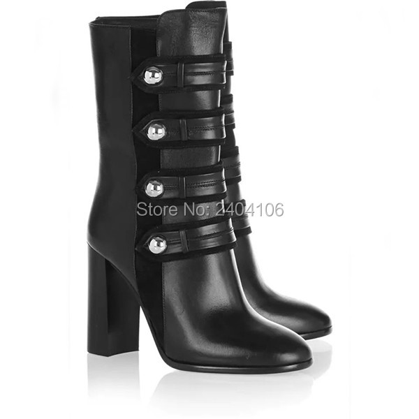 Chaussure Femme 2018 Block High Heels Arnie Buttoned Zip Boots Women Autumn Shoes Short Riding Booties Black Leather Ankle BootsChaussure Femme 2018 Block High Heels Arnie Buttoned Zip Boots Women Autumn Shoes Short Riding Booties Black Leather Ankle Boots